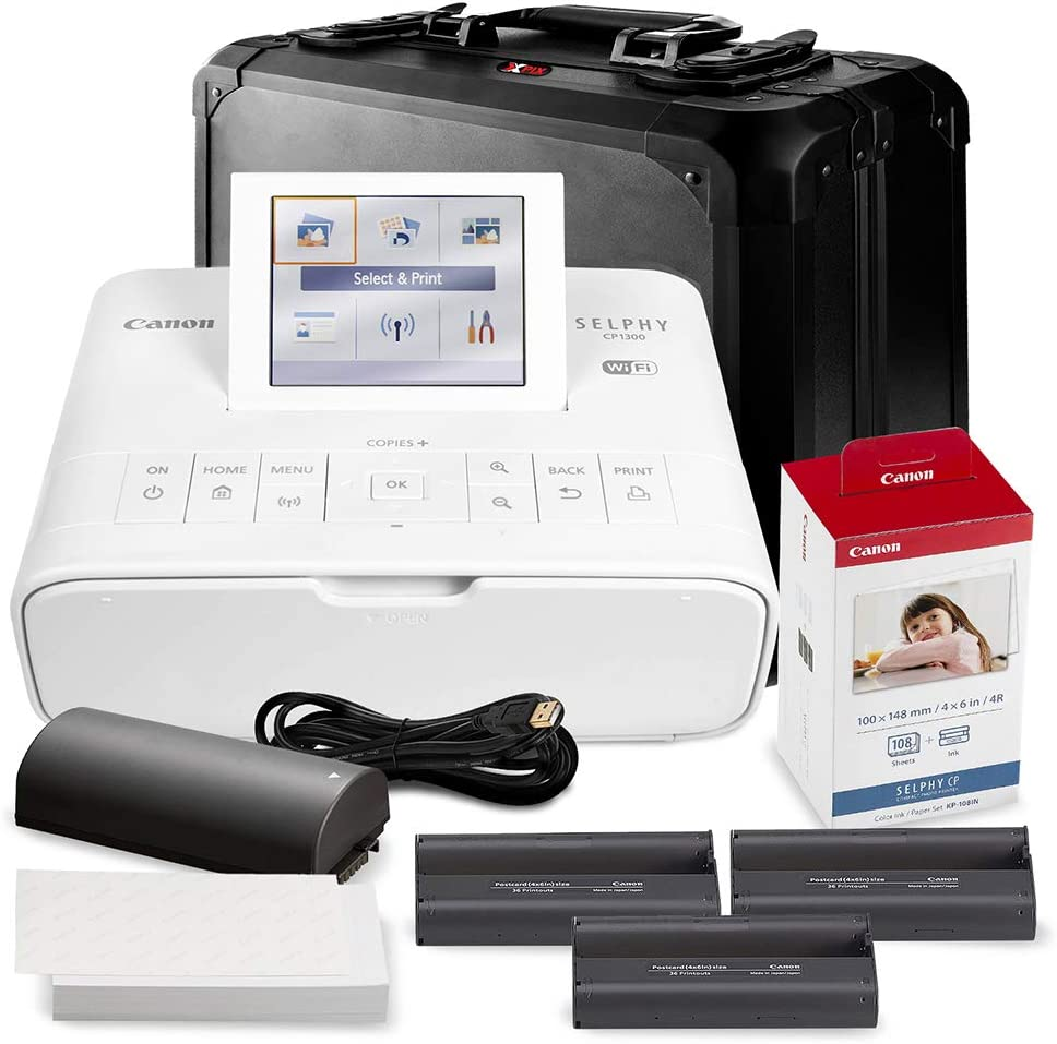 Canon SELPHY CP1300 Compact Photo Printer (White) with WiFi w/Canon Color Ink and Paper Set + Case + Battery