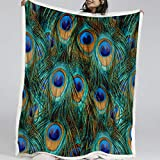 Blessliving Peacock Blanket Bed Sofa Soft Throw Blanket Home Decoration Sherpa Fleece Blanket Perfect for Couch Sofa or Travel Camping (Throw, 50 x 60 Inches)