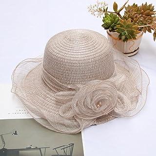 CDDKJDS قبعات الزفاف للنساء حافة كبيرة شبكة مظلة قابلة للطي زهرة اكسسوارات الزفاف أغطية الرأس (اللون: كاكي، الحجم: حجم واحد