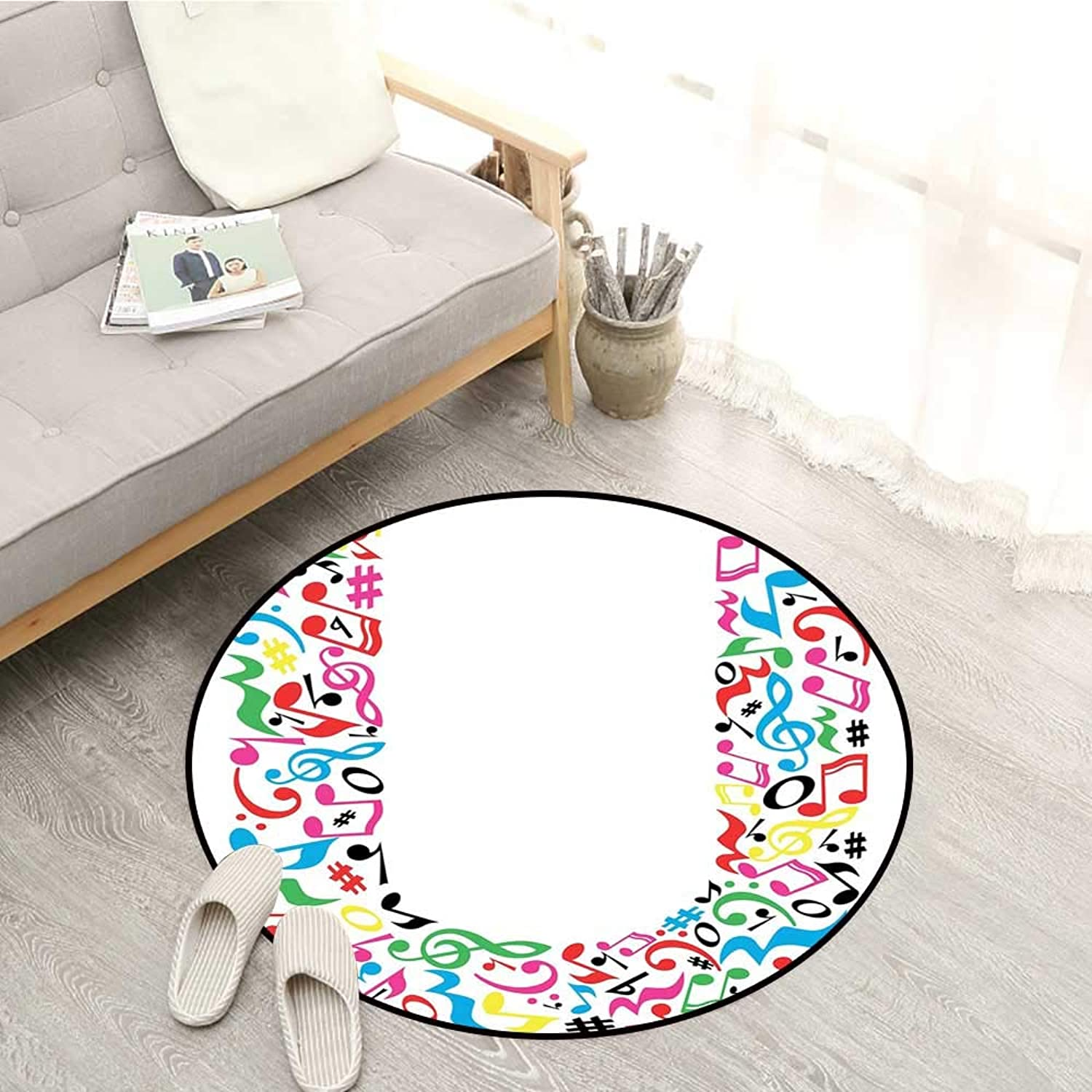 Letter U Carpets colorful Musical Elements Notes Major and Minor Graphic Alphabet Artwork Pattern Sofa Coffee Table Mat 3'11  Multicolor