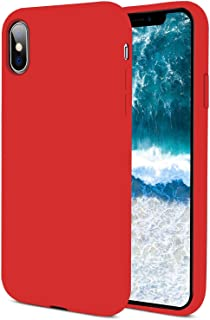iPhone Xs Max Silicone Case, [Support Wireless Charging] Drop Shockproof Full Body Protection Matte Case Gel Rubber Silicone Phone Case with Soft Cushion for Apple iPhone Xs Max 2018 6.5 inch - Red