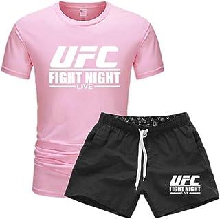 """تيشيرت رجالي مطبوع عليه عبارة """"ملابس رياضية، ورياضية، وهواة المختلطة UFC مطبوعة بأكمام قصيرة + شورت (اللون: وردي، المقاس: ..."""