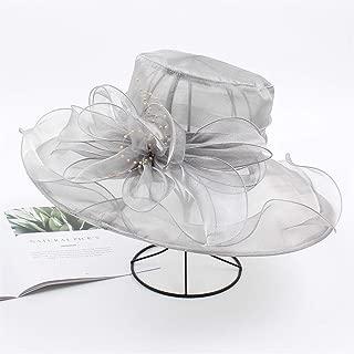 ZWHMZ Organza Visor Female Korean Version of The Flower Elegant Casual Big Sun hat Wild Resort Collapsible Cool hat (Color : Grey, Size : Adjustable)