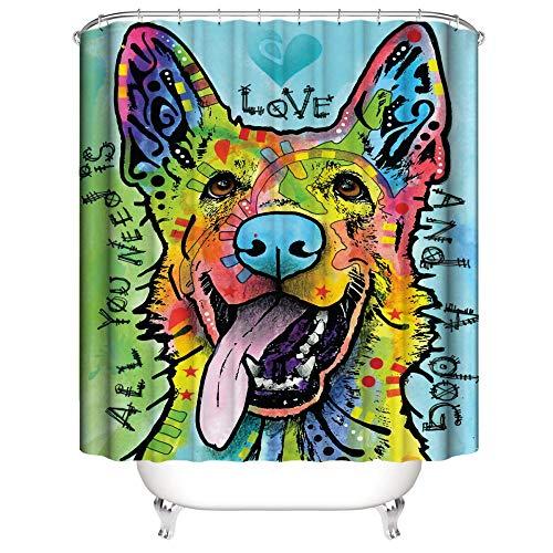 SUGOO Duschvorhang 3D Aquarell Hund dekorative Duschvorhang wasserdicht und schimmelfest Polyester% Haushalt Erwachsene und Kinder 180 * 180cm