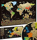 Mappa del mondo da grattare con bandiere + Mappa Europa da grattare - Mappa Viaggi Qualità Premium,poster da parete, idea regalo per viaggiatori, oro/nero