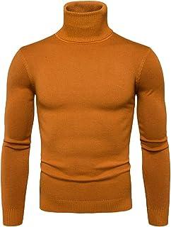 LaoZan Męski elastyczność, ciepły golf, sweter z długim rękawem, krój slim fit, sweter z dzianiny, czas wolny, jednokolorowy