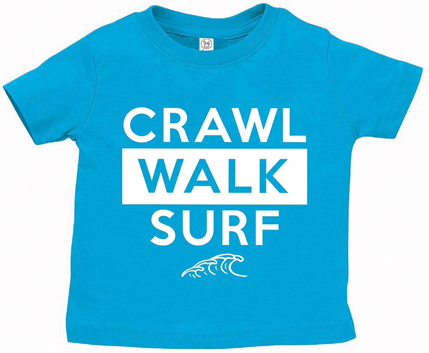 Tees & Tails Crawl Walk Surf Surfer Infant Baby Tee Shirt Assorted Colors (6M 12M 18M 24M)