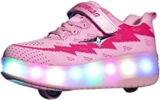 Kids LED Slip on Sneakers - Large Size Light Up Flying Weaving Wheels Skate USB Shoes Fashion Kids Sneakers - Luminous Boots Sport Shoes Sneakerss for 7-16 Year Old Winter &Autumn