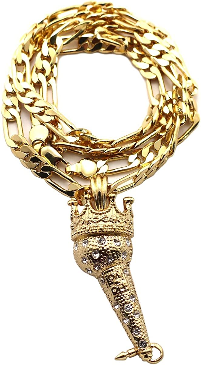 NYFASHION101 Crowned Microphone Pendant w// 24 Figaro Chain Necklace