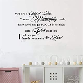 Ptary Decals Wall Stickers Sayings Lettering Room Home Wall Decor Mural Art You are A Child of God You are Wonderfully Made Christian God Scripture Bible Verse