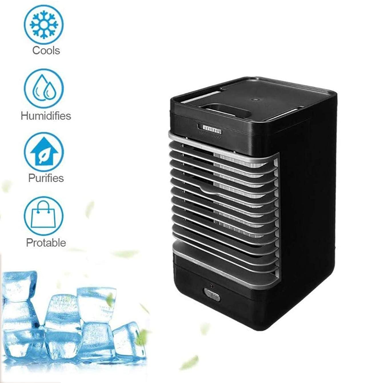 Compact air personal space cooler 3 in 1 cube evapolar personal fan air cooler For Desk camping house kitchen silent indoor air conditioner black