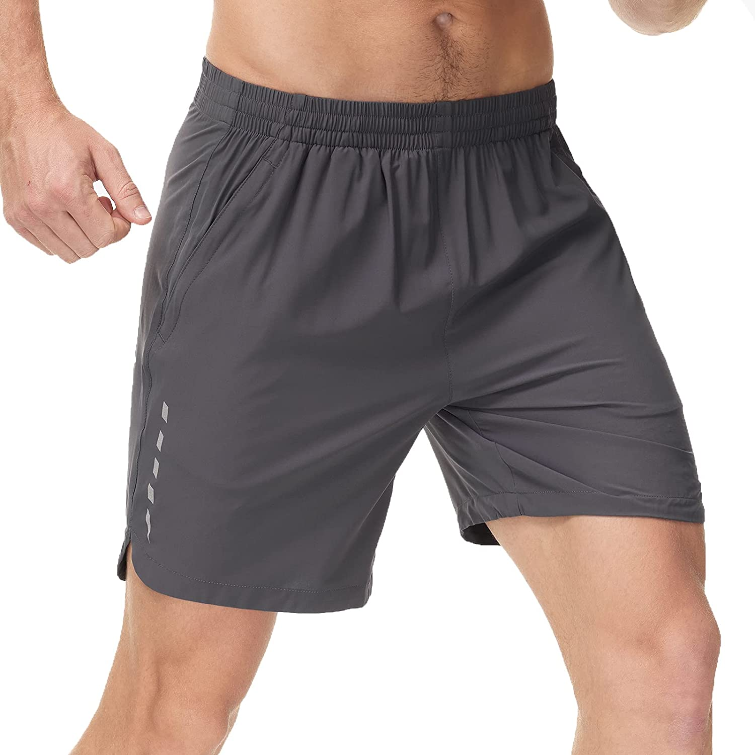MIER Men's Quick Dry Workout Running Shorts Active Shorts with 4