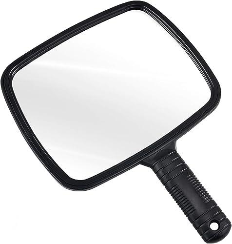 TRIXES Miroir de coiffeur manuel pour salons professionnels avec poignée - Miroir à Main Rectangulaire - Miroir de Ba...