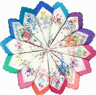 KINGDESON Colorful Women Floral Handkerchiefs Wedding Party Fabric Hankies