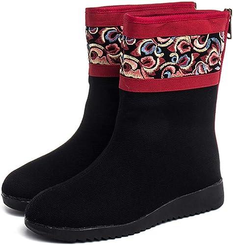 YAN Bottes pour Femmes - Chaussures en Coton avec Broderies Vintage, Chaussures Plates à Semelle d (Couleur   Noir, Taille   37)