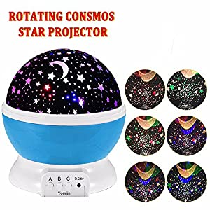 YOMIJN Child Luminous Moon Star Projector 360 Degree Rotation – 4 LED Bulbs 9 USB Cable for Light Coloring Unique Christmas Gifts Men's Women's Baby's Best Gift