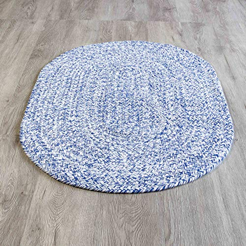 Super Area Rugs Farmhouse Braided Rug Cotton Kitchen Reversible Carpet, Blue & White, 2' X 3'