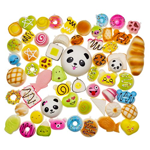 Kawaii Squishies Toys 20 pcs Random - Giant Food Squishy Charms - Jumbo Medium Mini Soft Panda Bread Buns Doughnuts - Slow Rising Stress Relief Toys Package - Phone Charm Key Chain Strap