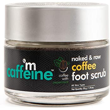 mCaffeine Naked & Raw Coffee Foot Scrub | Dead Skin & Tan Removal | Peppermint, Sweet Almond Oil | Paraben Free | 50 g