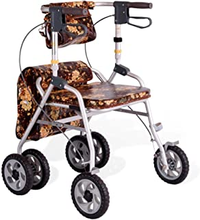 DHINGM Old-Fashioned Trolley Aluminum Walker, Lightweight Folding Four-Wheelchair, Large Seat, with Thick, Soft, Sturdy Seat Belt and Backrest, Made of Sturdy and Lightweight Aluminum, Durable