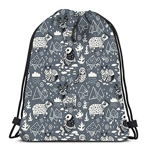 WH-CLA Unisex Drawstring Backpack,Polare Tiere Grau Verstellbar Kordelzug Rucksack Damen Herren Rucksack Beutel Tasche Sport Tunnelzug Gymsack Für Reisen Schwimmen Schule