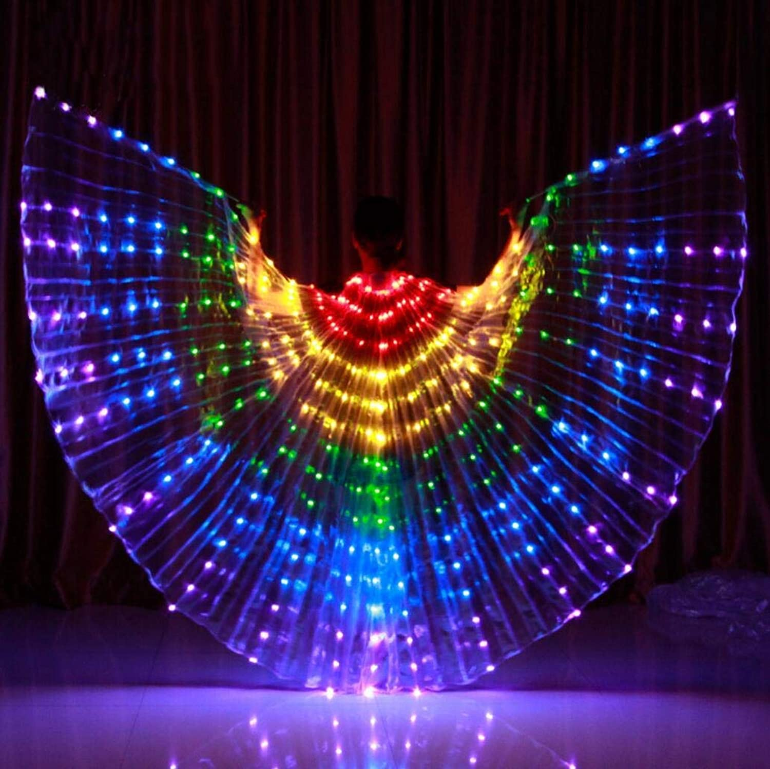 Dance Fairy Opening Belly Dance LED Isis Wings with Sticks RodsWings 300 LED Luminous Light Up Stage Performance Props Passed CE