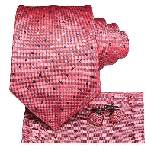 GPZFLGYN Corbatas a cuadros de coral para hombres, caja de puntos, regalos para hombres, corbata, conjunto de gemelos, corbata de seda, vestidos formales, negocios