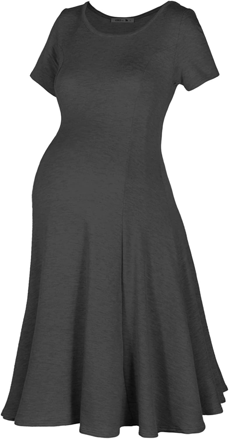 Beachcoco Women's Maternity Knee Length French Terry Dress Made in USA