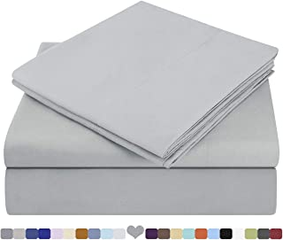 HOMEIDEAS Bed Sheets Set Extra Soft Brushed Microfiber 1800 Bedding Sheets - Deep Pocket, Hypoallergenic, Wrinkle & Fade Free - 3 Piece(Twin,Light Grey)