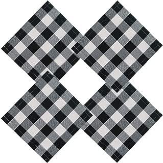 ARKSU Buffalo Check Plaid Polyester-Cotton Cloth Napkin for Christmas Dinner Parties Home Table Decor (13x13, Set of 10) Black & White
