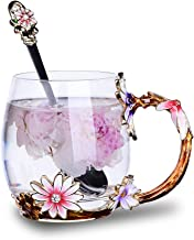 Tea Cups Coffee Mug Cups Clear Glass With Spoon Set Handmade Daisy Best Gift For Newlyweds, Christmas, New Year, Anniversaries, Parents, Weddings, Engagements, Couples Gifts,12OZ