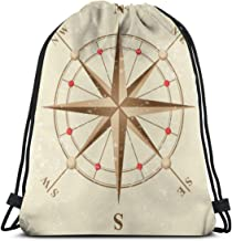 Compass Icon in Retro Style Gym Sack Bag Drawstring Backpack Sport Bag for Men & Women School Travel Backpack