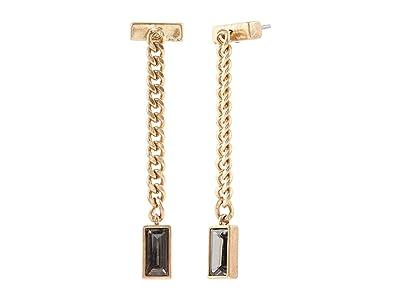 AllSaints Baguette Mini Linear Earrings (Black Diamond) Earring