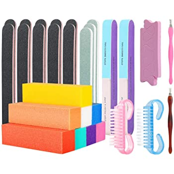 Professional Nail File and Buffers Tool Set - for Natural, Gel & Acrylic Nails - Nail Care Buffer Block Polisher Tool, Washable Double Sided Kit (28 pcs)