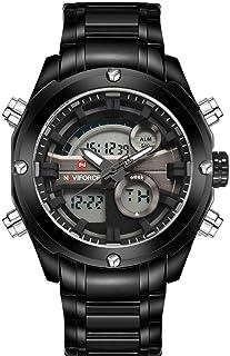 Naviforce 9088 B-B-GY Analog-Digital For Men, Dress Watch