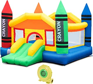 Costzon Inflatable Bounce House, Castle Jumper Slide Mesh Walls, Kids Party Jump Bouncer House w/Net, Carry Bag Without Blower (Crayon Theme w/ 480W Air Blower)
