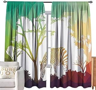 Sheer Curtains Wildlife Decor,Digital Zebra Figure in Fractal Display Vivid Colors A Look at Kenya Illustration,Multi W84 x L108 inch,Machine Washable
