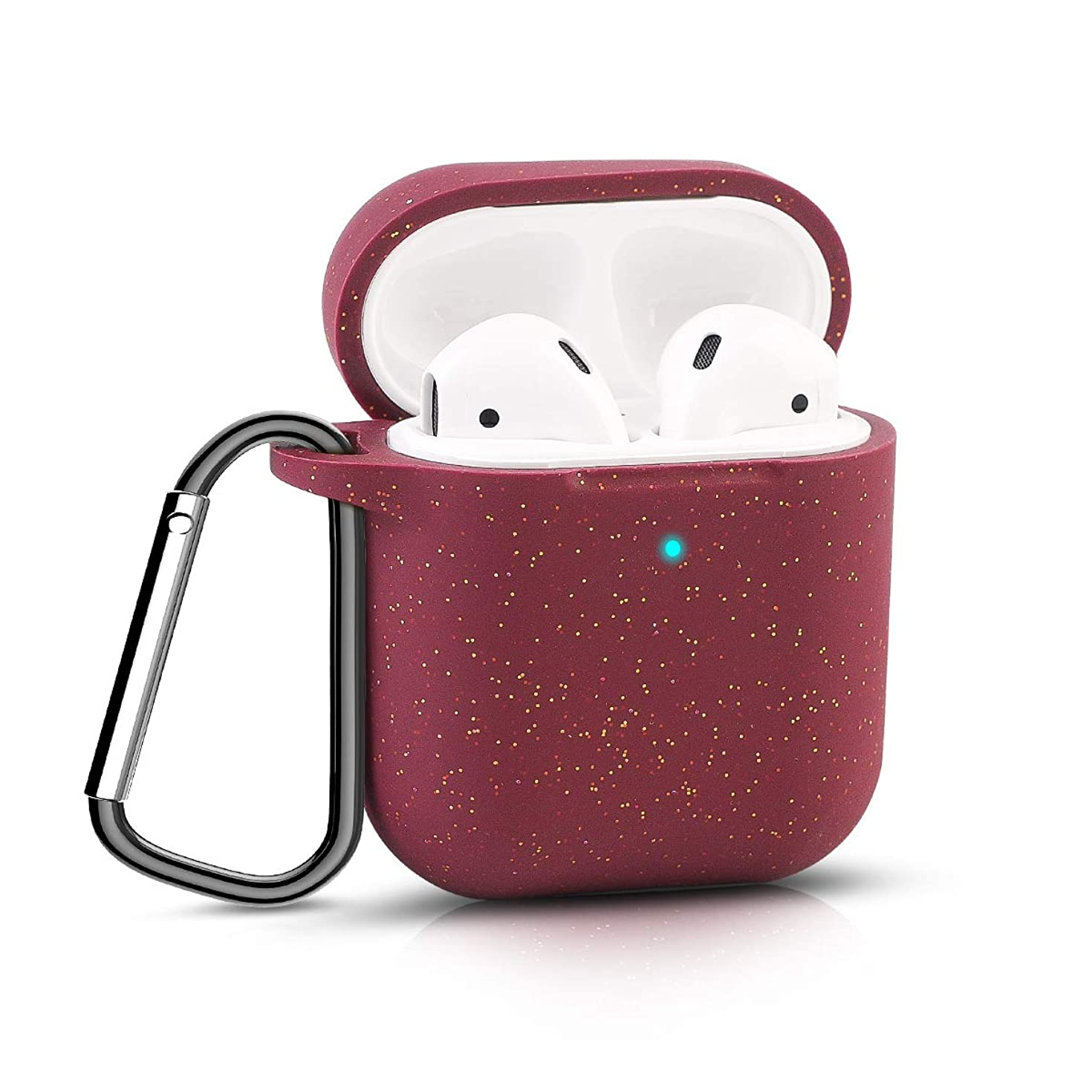 Bqmte Silicone Case Compatible for AirPods 2, [Front LED Visible] Glittery Wireless Charging Case Cover with Carabiner for Apple AirPods 2 (2019) (Glittery Burgundy)