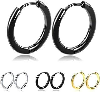 MEENAZ Valentine Stainless Steel Multicolor Black Silver Gold Piercing Clip on Bali Stud Ear rings Combo Earing Pierced Ho...