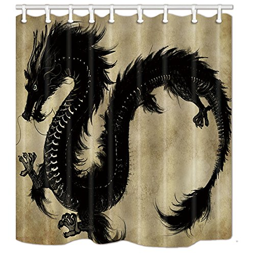 NYMB Dragon Decor Chinese Mythology Snake Dragon Theme Waterproof 69X70 inches Mildew Resistant Polyester Fabric Shower Curtain Set Fantastic Decorations Bath Curtain