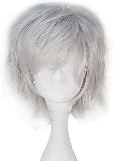 Miss U Hair Men Adult Short Straight Layered Silvery Grey Anime Cosplay Wig C144