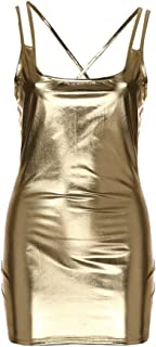 Women's Sequin Sparking Shinning Stripper Leather Mini Bodycon Gowns Party Club Dresses Zulmuliu