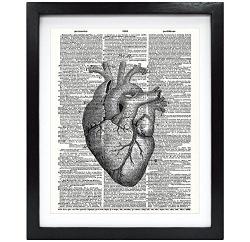 Susie Arts 8X10 Unframed Anatomical Heart Upcycled Vintage Dictionary Art Print Book Art Print Home Decor Wall Art V008