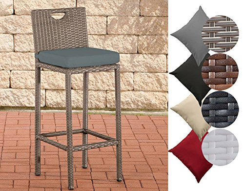 CLP Outdoor Barhocker MARI mit Sitzkissen I Polyrattan Tresenstuhl mit Fußstütze I erhältlich Bezugfarbe: Eisengrau, Rattanfarbe: Grau