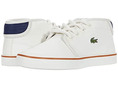 Lacoste Kids Ampthill 0120 1 CUC (Little Kid) (Off-White/Navy) Kid