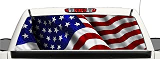 avgrafx Truck SUV American Flag Rear Window Graphic Decal Perforated Vinyl Wrap 22 x 66 Inches