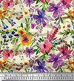 Soimoi Gelb Viskose Chiffon Stoff Blume & Blätter Aquarell