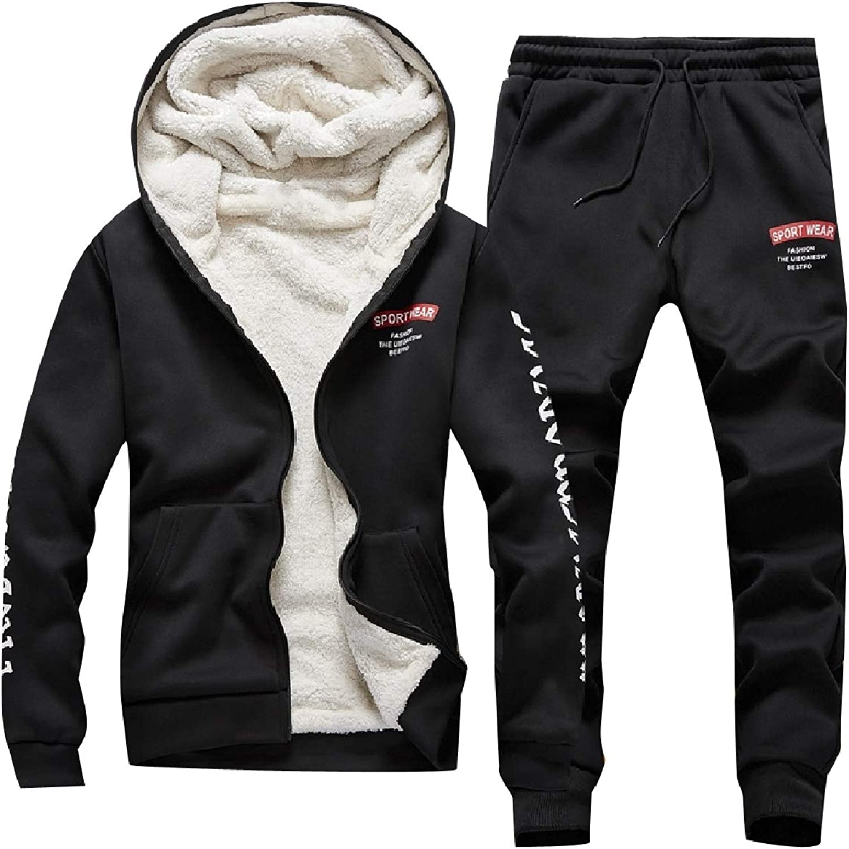 Unastar Men's Full-Zip Plus-Size 2-Piece Sports Thickened Tracksuit Set