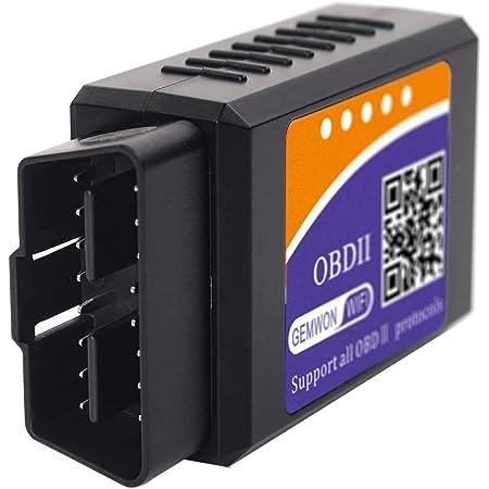 GEMWON OBD2 故障診断機 自動車 車検 故障診断器 OBDⅡ 診断 スキャンツール Wi-Fi 無線 スマホ IOS/Android/windows 対応 自動 ペアリング 超小型 配線不要 多車種 多機能 設置簡単 車ECU情報 チャック対応(OBDⅡ本体)