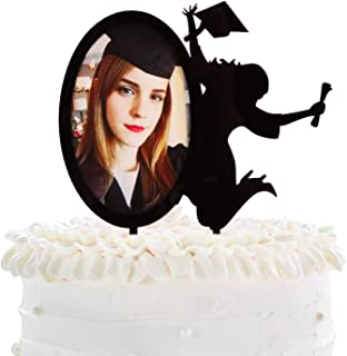 Congrats Grad Cake Toppers - Black Acrylic With Photo Frame Cake Picks Décor - Academy Students College Graduate Party Sup...